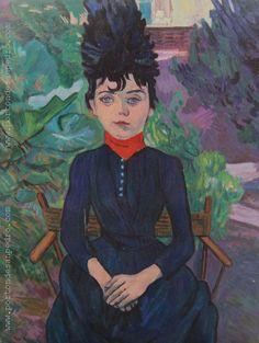 "Pablo Felipe Villegas Mañé ""Retrato de mujer"" Óleo sobre fibra  Homenaje a Henri Toulousse Lautrec 73 x 56 cm.  http://www.portondesanpedro.com/ver-producto.php?id=12305"