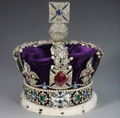 Imperial State Crown of England with its amazing stones such as the Cullinan II Diamond, the Black Princes Ruby, the Stuart and St Edward Sapphires,
