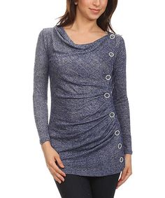 J-Mode USA Los Angeles Navy Side-Button Top | zulily
