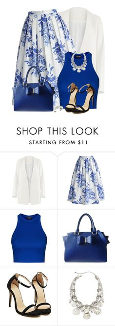 """Blue Floral Skirt"" by daiscat ❤ liked on Polyvore featuring Non, Chicwish, Topshop, Lipsy and Andara"