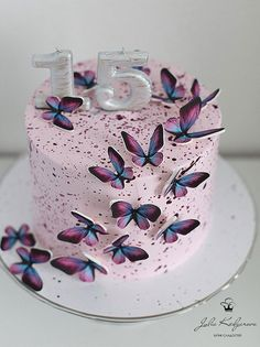 14th Birthday Cakes, Butterfly Birthday Cakes, Candy Birthday Cakes, Birthday Cakes For Teens, Beautiful Birthday Cakes, Butterfly Cakes, Cakes With Butterflies, Birthday Cake Decorating, Cake Decorating Tips