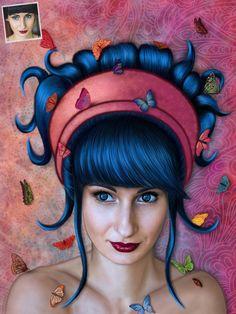 Portrait stylisé d'une jeune femme.