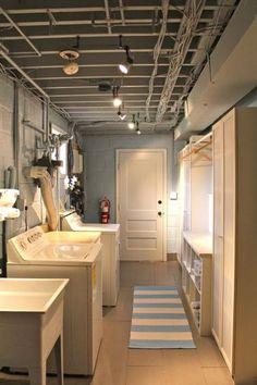 basement laundry room flooring, laundry room ideas in unfinished basement, small farmhouse laundry room ideas Basement Makeover, Basement Storage, Basement Walls, Basement Bathroom, Basement Ideas, Basement Inspiration, Bathroom Plans, Basement Apartment, Walkout Basement