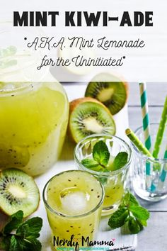 Most refreshing drink ever award goes to this simple kiwi lemonade! So tasty and fresh. Easy Drink Recipes, Cocktail Recipes, Sweet Recipes, Dinner Recipes, Cocktail Drinks, Alcoholic Drinks, Beverages, Dessert Recipes, Healthy Recipes