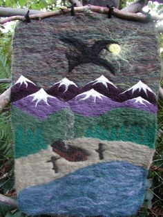 Raven Steals the Light  felted wool wall hanging by mountainhearth