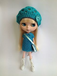 Lacy Tunic Dress for Blythe  Twinkly Turquoise by polly on Etsy, £12.50