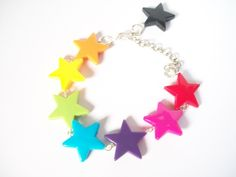 Kawaii Rainbow Star Beaded Bracelet - Kitsch - Silver Plated £7.00 - beads - diy - folksy - handmade - crafts - jewellery - jewelryy