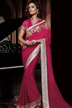 Pink Georgette Saree with Silk Blouse  Prix:-87,04 €  Designer Saree Collection now in store presented by Andaaz Fashion like Pink Georgette Saree with Silk Blouse. The dress is embellished with Embroidered, Resham, Zari, Chinese Collar Blouse, Short Sleeve, and with Designer Pallu. This dress is prefect for Party, Wedding, Festival, Ceremonial  http://www.andaazfashion.fr/pink-georgette-saree-with-silk-blouse-dmv7716.html