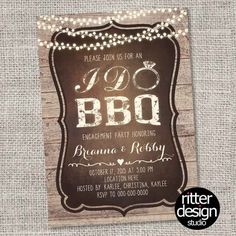 Rustic I Do BBQ Engagement Party Wedding Bridal Shower Invitation - Printable