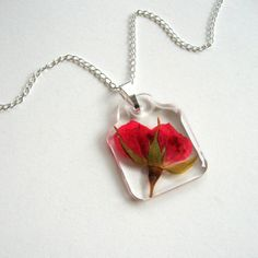 Red Rosebud - Real Flower Garden Necklace - Pressed flower, rose, red, heart, Valentine's Day, natural, garden, modern, minimal, ooak, gift