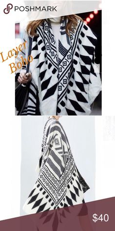 "🆕 GEOMETRIC CAPE Beautiful black and white geometric patterned scarf/cape. Is loose ended. No sleeves. Just drape and go. Pairs well with scarves and other cool weather gear while layering and looking effortless. Width: 53"" Length: 59"". Acrylic. -No trades 51twenty Accessories Scarves & Wraps"