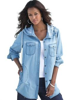 Hooded Denim Bigshirt | Plus Size Shirts and Blouses | Roamans