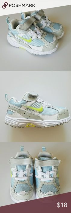 e2cd21c82 NWT Infant Nike Sneakers (Size Brand new, never worn infant Nike sneakers -  velcro strap, light blue/white with neon yellow swoosh.