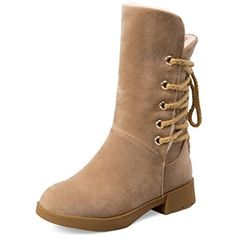 Women's Lace-Up Low-Heels Imitated Suede Solid Low-Top Boots >>> Read more at the image link. (This is an affiliate link) #OvertheKnee