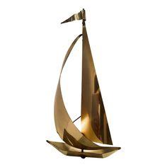 Fantastic Mid Century Brutalist Sculpture Brass Sailboat mounted on Quartz Copper Art, Steel Art, Brutalist, Sailboat, Vintage Antiques, Quartz, Mid Century, Sculpture, Wall Art
