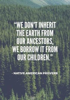 """""""We don't inherit the earth from our ancestors, we borrow it from our children"""""""