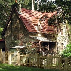 'The Olde Gardener's Cottage' by Michael John Stone Cottages, Cabins And Cottages, Stone Houses, Woodlands Cottage, Cottage In The Woods, Forest Cottage, Storybook Homes, Storybook Cottage, Cute Cottage