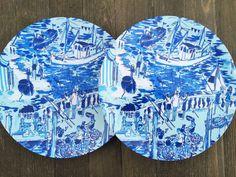 Blues Patterned 10\  Dinner or 8\  Salad Melamine Plates with Monogram & Blues Patterned 10\