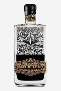 Labeling and brand design for Mr. Black Panama Geisha coffee liqueur designed by Australia's Co Partnership. Beverage Packaging, Coffee Packaging, Bottle Packaging, Brand Packaging, Design Packaging, Chocolate Packaging, Food Packaging, Product Design, Garage Art
