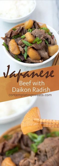 Beef with Daikon Radish is an easy Japanese weeknight meal. It's best if you make it ahead of time, so the daikon can soak up all the great flavors of the sauce. Modify for keto Easy Japanese Recipes, Asian Recipes, Beef Recipes, Real Food Recipes, Cooking Recipes, Healthy Recipes, Asian Foods, Oriental Recipes, Cooking Corn