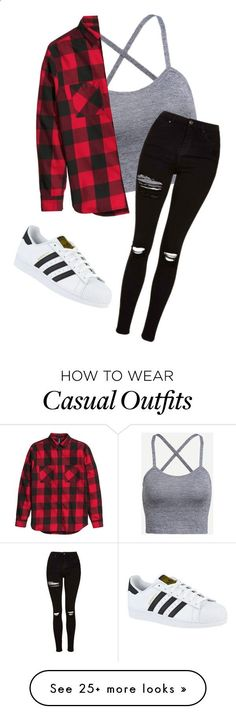 Casual by myhrer714 on Polyvore featuring Topshop and adidas Clothing, Shoes & Jewelry : Women : Top Brands : Jeans for women amzn.to/2jEURP6