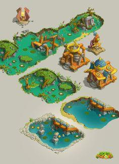 ArtStation - SOP buildings, Vladimir Postovalov Art Isométrique, 2d Art, 2d Game Art, Video Game Art, Environment Concept Art, Environment Design, Game Environment, Prop Design, Game Design