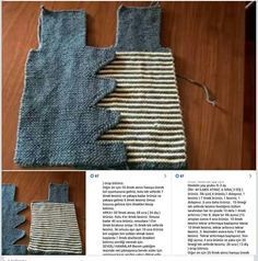 Discover thousands of images about Bebek Crochet Bebe, Knit Crochet, Baby Vest, Erdem, Baby Sweaters, Baby Knitting, Apron, Diy And Crafts, Pattern