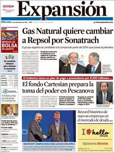 Los Titulares y Portadas de Noticias Destacadas Españolas del 4 de Septiembre de 2013 del Diario Expansión ¿Que le pareció esta Portada de este Diario Español?