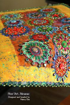 Art elements and principles of design in beaded quilts ~ Fiber Art Almanac (GET) /janetkwilliams/embroidery-and-embellishments/ BACK Beaded Embroidery, Embroidery Stitches, Hand Embroidery, Fabric Art, Fabric Crafts, Inchies, Textile Fiber Art, Fiber Art Quilts, Creative Textiles