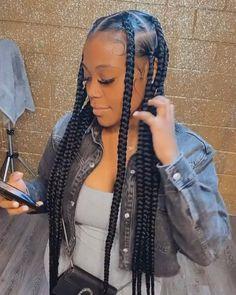 Quick Braided Hairstyles, Box Braids Hairstyles For Black Women, Braids Hairstyles Pictures, Black Girl Braids, Braids For Black Women, African Braids Hairstyles, Braids For Black Hair, Girls Braids, Hairstyles With Braiding Hair