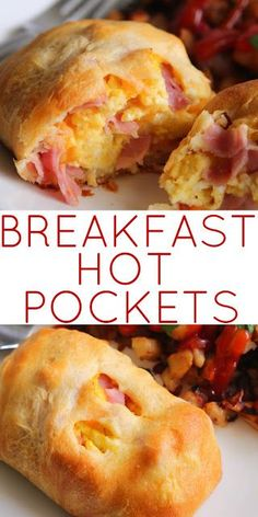 BREAKFAST HOT POCKETS - A super easy homemade hot pocket loaded with egg, ham and cheese. Could be made for brunch or dinner. What's For Breakfast, Breakfast Items, Breakfast Dishes, Breakfast Pockets, Freezer Breakfast Sandwiches, Quick Breakfast Ideas, Breakfast Healthy, Frozen Breakfast Burritos, Breakfast Recipes With Eggs