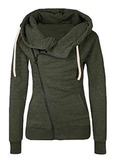 3c3f0a6f377 xiaokong Womens Wild Stylish Slim Fit Long Sleeve Sweatshirt Hoodies Army M   gt  gt