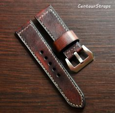Vintage handmade leather watch strap by CentaurStraps Stainless Steel Tubing, Brushed Stainless Steel, Leather Craft, Handmade Leather, Panerai Watches, Watch Straps, Vegetable Tanned Leather, Vintage Fashion, Mens Fashion