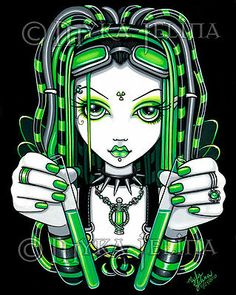 Green Fairy Cybergoth Radioactive Vivian Limited Edition CANVAS Embellished 8x10