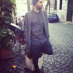 Streetsnap: beanie #NeilBarrett, cardigan #DanieleFiesoli, shirt #Vito, trousers #NeilBarrett, shoes #Akethon