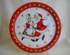 Holiday Metal Christmas Tray w Sant a Claus + Mrs Claus Dancing. Red ...