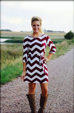 Chevron Dress in garnet. Perfect for gameday!