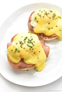 Eggs Benedict: United States breakfast dish of an English muffin topped with ham, poached egg and hollandaise sauce.