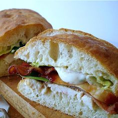 Ciabatta Bread and Caesar Club Sandwich
