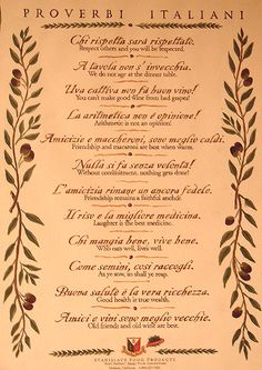 Italian Proverbs for table numbers