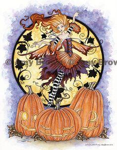 Halloween Jack O Lantern Fairy print by Amy Brown. $14.00, via Etsy.