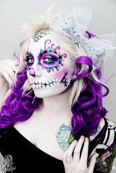 Sugar Skull Makeup Design Day of the Dead Creepy Makeup, Dead Makeup, Fx Makeup, Sugar Skull Makeup, Sugar Skull Art, Sugar Skulls, Day Of The Dead Girl, Day Of The Dead Skull, Catrina Tattoo