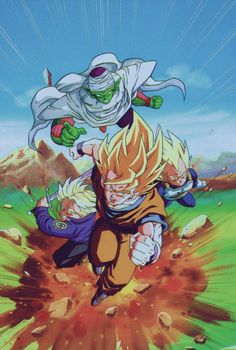 "jinzuhikari: "" Piccolo - Mirai Trunks - Vegeta & Songoku Scan comes from DRAGON BALL Z 1993 CALENDAR Source : Personal collection Published by Toei Animation - Studio Bird - FUJI TV - SHUEISHA - AKIRA TORIYAMA "" Higher res version of this image."