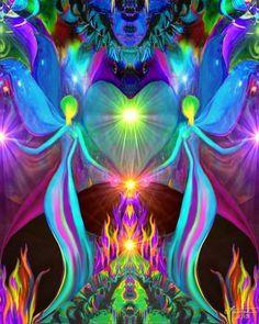"Twin Flames Art, Reiki Energy, Violet Flame Print ""Twin Flames"""