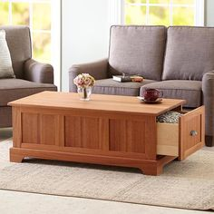 Woodworking Designs Coffee Table with Storage Drawers Woodworking Plan from WOOD Magazine Diy Furniture Plans, Furniture Making, Home Furniture, Furniture Design, Furniture Websites, Wooden Furniture, Furniture Storage, Unique Furniture, Mission Furniture