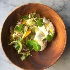 Because we love cheese! #burrata #salad with #minerslettuce #asparagus #fennel #orange #pickledmustardseeds dressing.