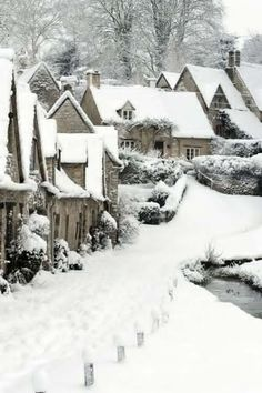 Snowy English Village. How adorable.