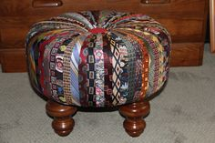 Tuffet/Footstool made out of recycled ties.
