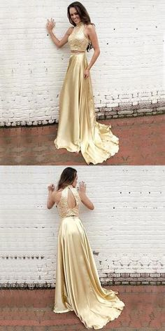 Prom Dresses Ball Gown, Modern High Neck Beading Prom Dress,Two-pieces Gold Long Prom Dress, from the ever-popular high-low prom dresses, to fun and flirty short prom dresses and elegant long prom gowns. Prom Dresses Two Piece, Gold Prom Dresses, Prom Dresses 2018, Long Prom Gowns, Plus Size Prom Dresses, Cheap Prom Dresses, Dresses For Teens, Dress Prom, Party Dresses