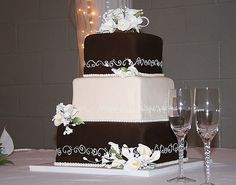 Square Chocolate Wedding Cakes With Orchids